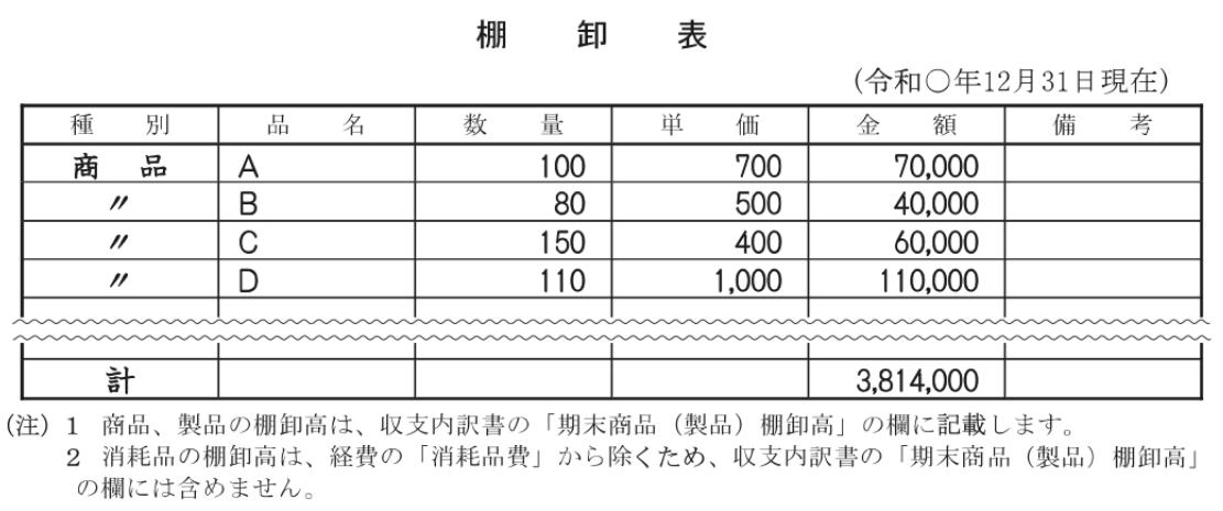 棚卸表の記入例